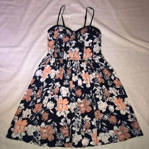 Band of Gypsies Navy Blush Floral Bustier Dress